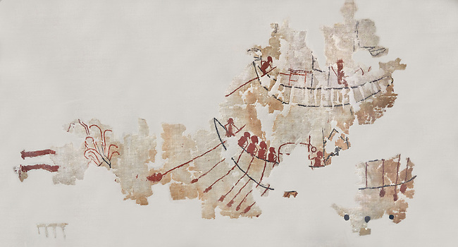 Ancient Egyptian Gebelein cloth depicting a Nile boat scene, the oldest know painted fabric artefact, Predynastic Egypt, Circa 3600BC. Egyptian Museum, Turin. <br /> <br /> There are at least 4 boats depicted on this linen cloth : two small carft following behind two larger vessels. The two small boats are equipped trains with 8 to 10 oars. The bottom boat has 4 rowers with their oars but other oars hanging below the hull . The helmsman has a steering oar larger (left). Two cabins occupy the central space. Between them a person is sitting in the same position as rowers and a black line behind it may be an indication of an other oar. The upper large boat does not have rowers but a helmsman at the back. The curved stern rises high and ends with a decoration. Red and black horizontal lines appear to indicate the presence of a cabin with a flat roof. Front of the cabin a character is sitting on a kind of throne. It seems to wear something on his head while the rowers are bareheaded.