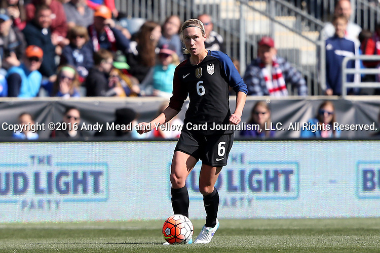 10 April 2016: Whitney Engen (USA). The United States Women's National Team played the Colombia Women's National Team at Talen Energy Stadium in Chester, Pennsylvania in an women's international friendly soccer game. The U.S. won the match 3-0.