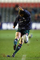 George Ford of Leicester Tigers practises his place kicking during the pre-match warm-up. European Rugby Champions Cup match, between Leicester Tigers and Munster Rugby on December 17, 2017 at Welford Road in Leicester, England. Photo by: Patrick Khachfe / JMP