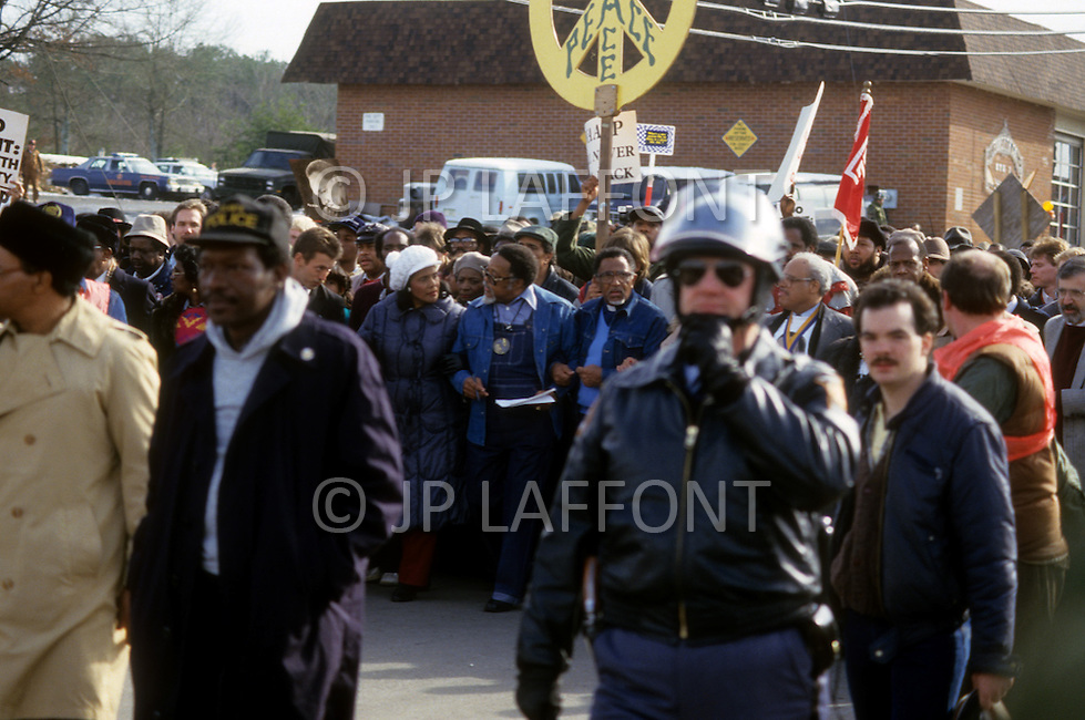 Georgia, Forsyth County, Cumming, 14th, January, 1987. 20,000 people on protest march against racism. From left to right Dean Carter, Coretta King, Hosea Williams and Joseph Lowery.