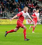 Nederland, Utrecht, 30 maart 2012.Eredivisie.Seizoen 2011-2012.FC Utrecht-Excelsior.Mike van der Hoorn van FC Utrecht juicht nadat hij de 1-0 heeft gemaakt