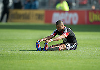 05 May 2012: D.C. United forward Maicon Santos #29 stretches during an MLS game between DC United and Toronto FC at BMO Field in Toronto..D.C. United won 2-0.