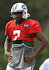 Geno Smith #7, New York Jets quarterback, practices during team training camp at Atlantic Health Jets Training Center in Florham Park, NJ on Wednesday, Aug. 3, 2016.