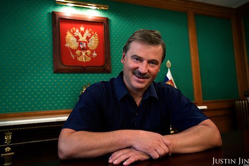Russian billionaire Sergei Veremeenko poses in his office in Moscow, Russia.