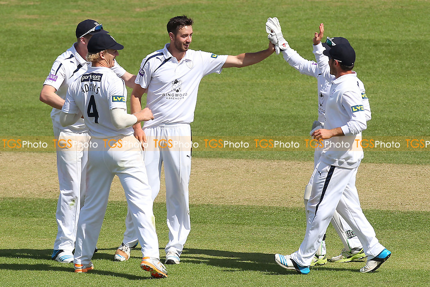 James Vince of Hampshire (C) is congratulated on taking the wicket of Ben Foakes - Hampshire CCC vs Essex CCC - LV County Championship Division Two Cricket at the Ageas Bowl, West End, Southampton - 17/06/14 - MANDATORY CREDIT: Gavin Ellis/TGSPHOTO - Self billing applies where appropriate - 0845 094 6026 - contact@tgsphoto.co.uk - NO UNPAID USE