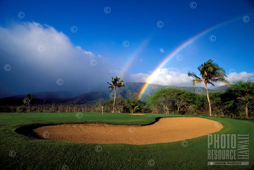 Double rainbow at Waiehu Golf Course, Maui.