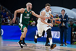 Real Madrid Luka Doncic and Panathinaikos Nick Calathes during Turkish Airlines Euroleague Quarter Finals 3rd match between Real Madrid and Panathinaikos at Wizink Center in Madrid, Spain. April 25, 2018. (ALTERPHOTOS/Borja B.Hojas)