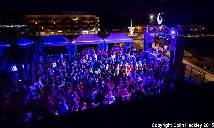Recess, a rooftop club in Tallahassee's College Town area in the Gaines Street corridor glows on a Saturday night.  <br /> <br /> COLIN HACKLEY PHOTO