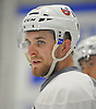 Devon Toews #46, defenseman, surveys the ice during New York Islanders Prospect Mini Camp at Northwell Health Ice Center in East Meadow, NY on Wednesday, June 28, 2017.