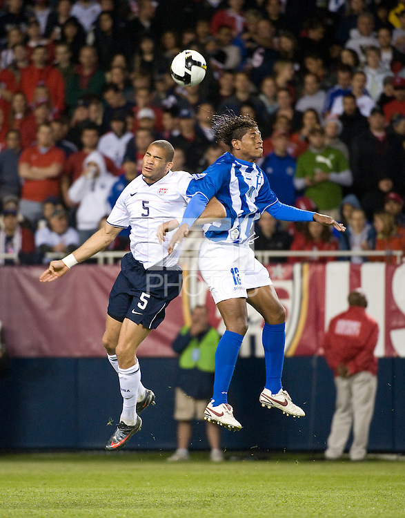 Oguchi Onyewu, Carlos Costly. The USA defeated Honduras, 2-1, in a World Cup qualifying match at Soldier Field in Chicago, IL on June 6, 2009.