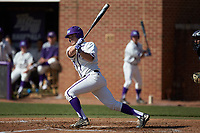 Carson Jackson (10) of the High Point Panthers follows through on his swing against the NJIT Highlanders at Williard Stadium on February 19, 2017 in High Point, North Carolina. The Panthers defeated the Highlanders 6-5. (Brian Westerholt/Four Seam Images)
