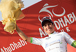 Esteban Chavez (COL) Orica GreenEdge on the podium after winning Stage 3, The Al Ain Stage, of the 2015 Abu Dhabi Tour starting from the Al Qattara Souq in Al Ain and running 129 km to the mountain top finish at Jebel Hafeet at 1025 metres, Abu Dhabi. 10th October 2015.<br /> Picture: ANSA/Angelo Carconi | Newsfile