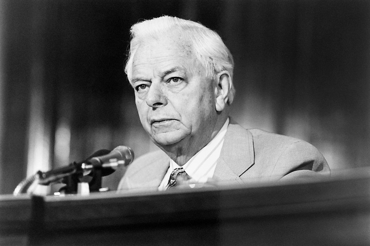 "Sen. Robert Carlyle ""Bob"" Byrd, D-W.Va. talking on microphone. June 1994 (Photo by Laura Patterson/CQ Roll Call)"