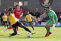 Tomi Adeloye of Dagenham and Redbridge goes close during Ebbsfleet United vs Dagenham & Redbridge, Vanarama National League Football at The Kuflink Stadium on 13th April 2019