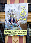 Poster advertising celebration of 75 years of Carmen Coronada statue restoration in the city of Malaga, Spain
