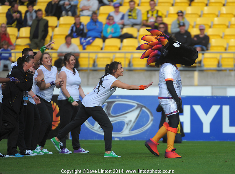 FIFA U20 World Cup 2015 mascot Wooliam performs at halftime during the A-League football match between Wellington Phoenix and Melbourne City FC at Westpac Stadium, Wellington, New Zealand on Friday, 30 November 2014. Photo: Dave Lintott / lintottphoto.co.nz