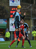 Jason McCarthy of Wycombe Wanderers wins the ball in the air during the Sky Bet League 2 match between Wycombe Wanderers and Leyton Orient at Adams Park, High Wycombe, England on 23 January 2016. Photo by Claudia Nako / PRiME Media Images.