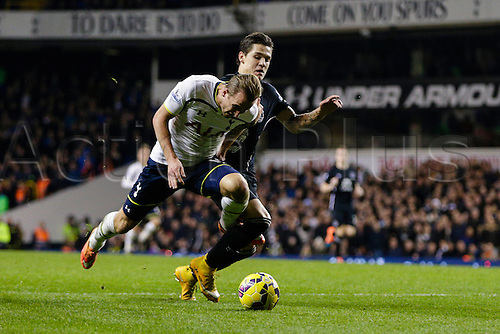 30.11.2014.  London, England. Premier League. Tottenham Hotspur versus Everton.  Tottenham Hotspur's Harry Kane appears to be brought down by Everton's Muhamed Besic in the box, which leads to appeals for a penalty