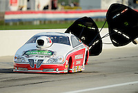 Sept. 1, 2012; Claremont, IN, USA: NHRA pro stock driver Mike Edwards during qualifying for the US Nationals at Lucas Oil Raceway. Mandatory Credit: Mark J. Rebilas-