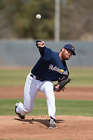 Milwaukee Brewers starting pitcher Braden Webb (30) during a Minor League Spring Training game against the Kansas City Royals at Maryvale Baseball Park on March 25, 2018 in Phoenix, Arizona. (Zachary Lucy/Four Seam Images)