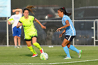 Piscataway, NJ - Sunday June 19, 2016: Taylor Lytle, Lauren Barnes during a regular season National Women's Soccer League (NWSL) match between Sky Blue FC and Seattle Reign FC at Yurcak Field.