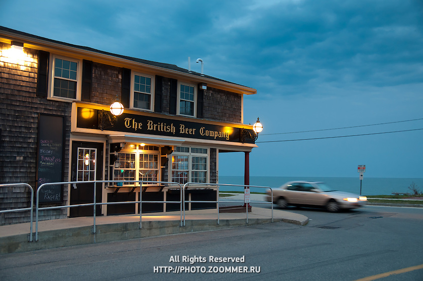 Falmouth Heights beach and British Beer Company at dusk,  Cape Cod