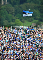 A general view of Bath supporters in the crowd. Aviva Premiership match, between Bath Rugby and London Welsh on September 13, 2014 at the Recreation Ground in Bath, England. Photo by: Patrick Khachfe / Onside Images