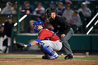 Buffalo Bisons catcher Danny Jansen (41) and umpire Chris Graham await the pitch during a game against the Rochester Red Wings on August 25, 2017 at Frontier Field in Rochester, New York.  Buffalo defeated Rochester 2-1 in eleven innings.  (Mike Janes/Four Seam Images)