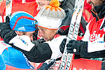 HOLMENKOLLEN, OSLO, NORWAY - March 16: (5) Ilia Chernousov of Russia (RUS) is hugged after the Men 50 km mass start, free technique, at the FIS Cross Country World Cup on March 16, 2013 in Oslo, Norway. (Photo by Dirk Markgraf)