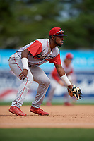Williamsport Crosscutters third baseman Kendall Simmons (19) during a NY-Penn League game against the Batavia Muckdogs on August 27, 2019 at Dwyer Stadium in Batavia, New York.  Williamsport defeated Batavia 11-4.  (Mike Janes/Four Seam Images)