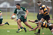 imothy Taefu makes a break past Cole Watson. Counties Manukau Club Rugby game between Manurewa and Bombay played at Mountfort Park Manurewa on Saturday June 2nd 2018. Bombay won the game 27 - 20 after leading 20 - 5 at halftime. <br /> Manurewa Kidd Contracting 20 - Caleb Fa'alili, William Raea, Willie Tuala, Viliami Taulani tries.<br /> Bombay 27 - Liam Daniela, Sepuloni Taufa, Talaga Alofipo tries, Ki Anufe 3 conversions, Ki Anufe 2 penalties.<br /> Photo by Richard Spranger.