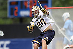 DURHAM, NC - APRIL 30: Notre Dame's Drew Schantz celebrates his goal. The University of North Carolina Tar Heels played the University of Notre Dame Fighting Irish on April 30, 2017, at Koskinen Stadium in Durham, NC in a 2017 ACC Men's Lacrosse Tournament Championship match. UNC won the game 14-10.
