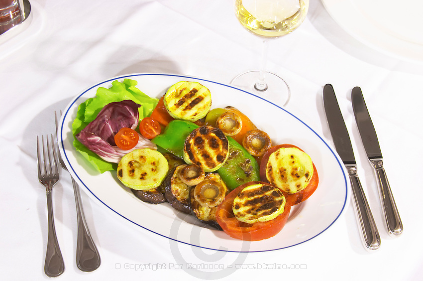 Plate with grilled vegetables. At the rooftop restaurant Biosphere. Historic town of Mostar. Federation Bosne i Hercegovine. Bosnia Herzegovina, Europe.
