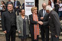 """Veranstaltung """"50 Jahre Entwicklungshelfer-Gesetz – 'Die Welt im Gepaeck'"""" am Freitag den 12. Juli 2019 in der Berliner St. Elisabethkirche.<br /> Als Gast war die Bundeskanzlerin Angela Merkel geladen.<br /> Den Ehrentag fuer zurueckgekehrte Entwicklungshilfe-Fachkraefte veranstalten die Gemeinsame Konferenz Kirche und Entwicklung (GKKE) und die Arbeitsgemeinschaft der Entwicklungsdienste (AGdD).<br /> Im Bild vlnr.: Praelat Karl Juesten; Judith Ohene, AGdD; Cornelia Fuellkrug-Weitzel, Brot fuer die Welt; Praelat Martin Dutzmann, GKKE; Peter Schaefer, Gruendungsvater des Entwicklungshelfer-Gesetzes.<br /> 12.7.2019, Berlin<br /> Copyright: Christian-Ditsch.de<br /> [Inhaltsveraendernde Manipulation des Fotos nur nach ausdruecklicher Genehmigung des Fotografen. Vereinbarungen ueber Abtretung von Persoenlichkeitsrechten/Model Release der abgebildeten Person/Personen liegen nicht vor. NO MODEL RELEASE! Nur fuer Redaktionelle Zwecke. Don't publish without copyright Christian-Ditsch.de, Veroeffentlichung nur mit Fotografennennung, sowie gegen Honorar, MwSt. und Beleg. Konto: I N G - D i B a, IBAN DE58500105175400192269, BIC INGDDEFFXXX, Kontakt: post@christian-ditsch.de<br /> Bei der Bearbeitung der Dateiinformationen darf die Urheberkennzeichnung in den EXIF- und  IPTC-Daten nicht entfernt werden, diese sind in digitalen Medien nach §95c UrhG rechtlich geschuetzt. Der Urhebervermerk wird gemaess §13 UrhG verlangt.]"""