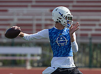 NWA Democrat-Gazette/BEN GOFF @NWABENGOFF<br /> Hunter Loyd, Rogers quarterback, throws the ball during the game vs Harrison Thursday, July 11, 2019, during the Border Battle 7-on-7 Tournament, in partnership with the Pro Football Hall of Fame Scholastic 7v7 series, at Branson (Mo.) High School's Pirates Stadium.