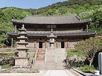 Pagode, buddhistischer Hwaeomsa Tempel in Jirisan Nationalpark, Provinz Jeollanam-do, Südkorea, Asien<br /> Pagoda, buddhist Hwaeomsa temple in Jirisan national park, province Jeollanam-do, South Korea, Asia