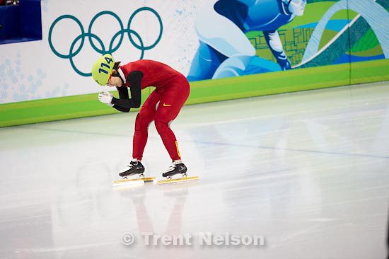 Trent Nelson  |  The Salt Lake Tribune.Ladies' 1500m Final, Short Track Speed Skating, at the XXI Olympic Winter Games in Vancouver, Saturday, February 20, 2010. Zhou Yang 114 gold medal, china