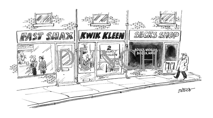(A row of shops have signs in phonetic English reading 'Fast Snax', 'Kwick Kleen' and 'Secks Shop')