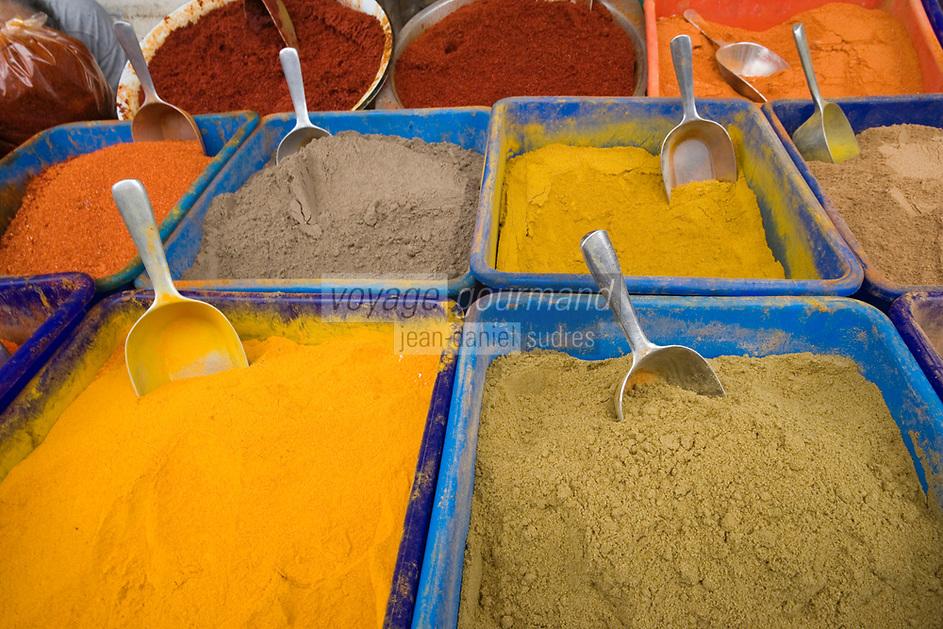 Asie/Israël/Judée/Jérusalem détail étal d'épices du marché Mahane Yehuda un des marchés les plus importants de la a ville