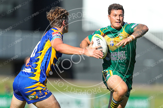 The Wyong Roos play Toukley Hawks in Round 7 of the Reserve Grade Central Coast Rugby League Division at Morry Breen Oval on 22 May, 2016 in Kanwal, NSW Australia. (Photo by Paul Barkley/LookPro)