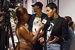 Singer and actress Teyana Taylor hosts the press preview for KISS Products' first ever Pop Up Beauty Bar in New York City, and answers questions on September 28, 2017.