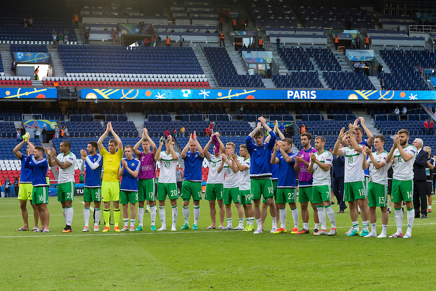 Northern Ireland players applaud the fans<br /> <br /> Photographer Craig Mercer/CameraSport<br /> <br /> International Football - 2016 UEFA European Championship - Round of 16 - Wales v Northern Ireland - Saturday 25th June 2016 - Parc des Princes - Paris - France<br /> <br /> World Copyright &copy; 2016 CameraSport. All rights reserved. 43 Linden Ave. Countesthorpe. Leicester. England. LE8 5PG - Tel: +44 (0) 116 277 4147 - admin@camerasport.com - www.camerasport.com