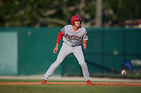 Clearwater Threshers Alec Bohm (40) leads off first base during a Florida State League game against the Dunedin Blue Jays on May 11, 2019 at Jack Russell Memorial Stadium in Clearwater, Florida.  Clearwater defeated Dunedin 9-3.  (Mike Janes/Four Seam Images)