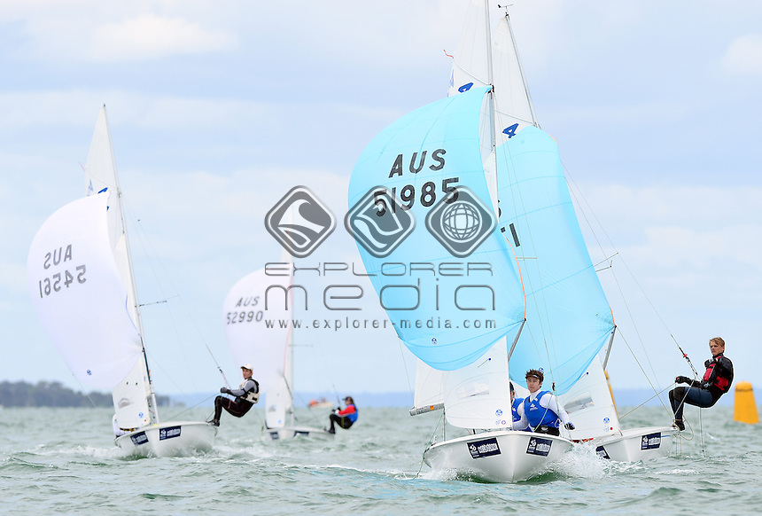 420 / fleet racing action<br /> 2013 ISAF Sailing World Cup - Melbourne<br /> Sail Melbourne - The Asia Pacific Regatta<br /> Sandringham Yacht Club, Victoria<br /> December 1st - 8th 2013<br /> &copy; Sport the library / Jeff Crow