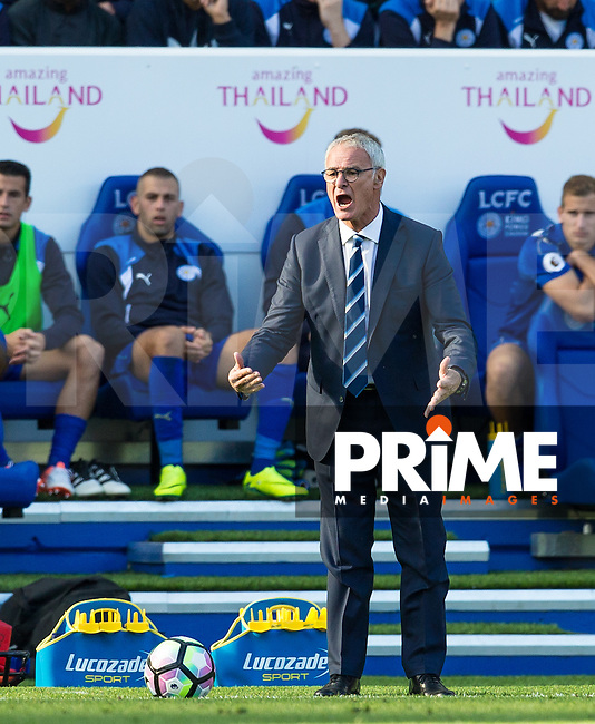 Leicester City Manager Claudio Ranieri shows his frustration during the Premier League match between Leicester City and Southampton at the King Power Stadium, Leicester, England on 2 October 2016. Photo by Andy Rowland.