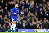 5th November 2017, Stamford Bridge, London, England; EPL Premier League football, Chelsea versus Manchester United; Eden Hazard of Chelsea reacts as he gives away a foul