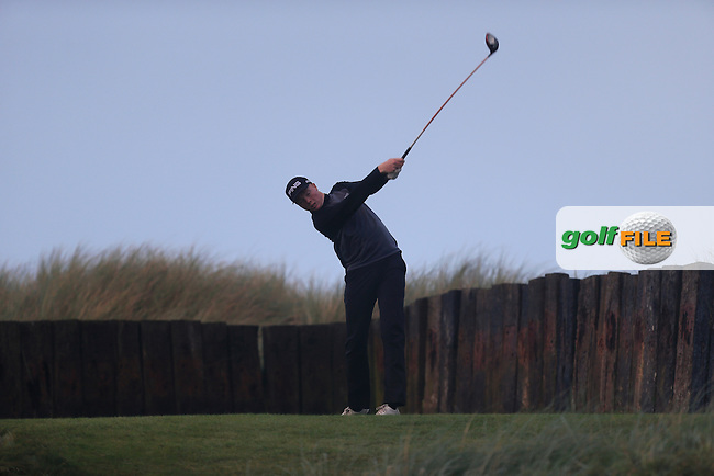 Robin Dawson (MU) on the 16th tee during Round 2 of the Irish Intervarsity Championship at Rosslare Golf Club on Thursday 5th November 2015.<br /> Picture:  Thos Caffrey / www.golffile.ie