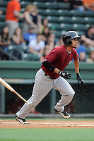 Second baseman Jean Rodriguez (6) of the Savannah Sand Gnats, bats in a game against the Greenville drive on May 7, 2015, at Fluor Field at the West End in Greenville, South Carolina. Savannah won, 7-5. (Tom Priddy/Four Seam Images)