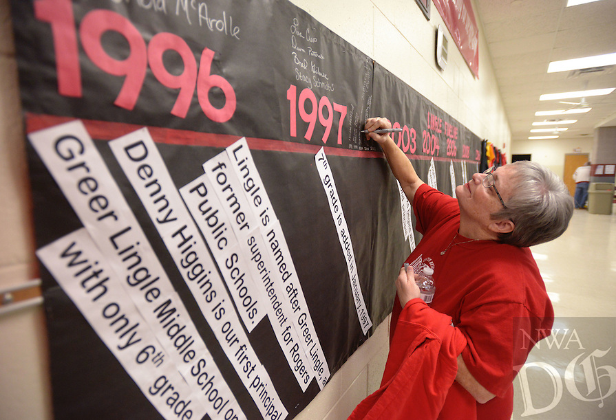 NWA Democrat-Gazette/BEN GOFF @NWABENGOFF<br /> Emma Miller, a 7th grade reading teacher at Greer Lingle Middle School from 2000-07, adds her name to a timeliene of the school's history on Monday Jan. 16, 2017 during a 20th anniversary celebration at the school in Rogers. The school opened with just 6th grade in the fall of 1996, with 7th graders arriving in Jan. of 1997. Since Aug. 2008 the school has also had 8th grade.
