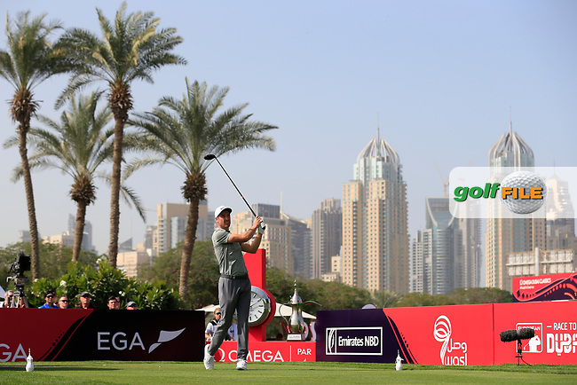 Ross Fisher (ENG) on the 1st tee during Round 4 of the Omega Dubai Desert Classic, Emirates Golf Club, Dubai,  United Arab Emirates. 27/01/2019<br /> Picture: Golffile | Thos Caffrey<br /> <br /> <br /> All photo usage must carry mandatory copyright credit (&copy; Golffile | Thos Caffrey)